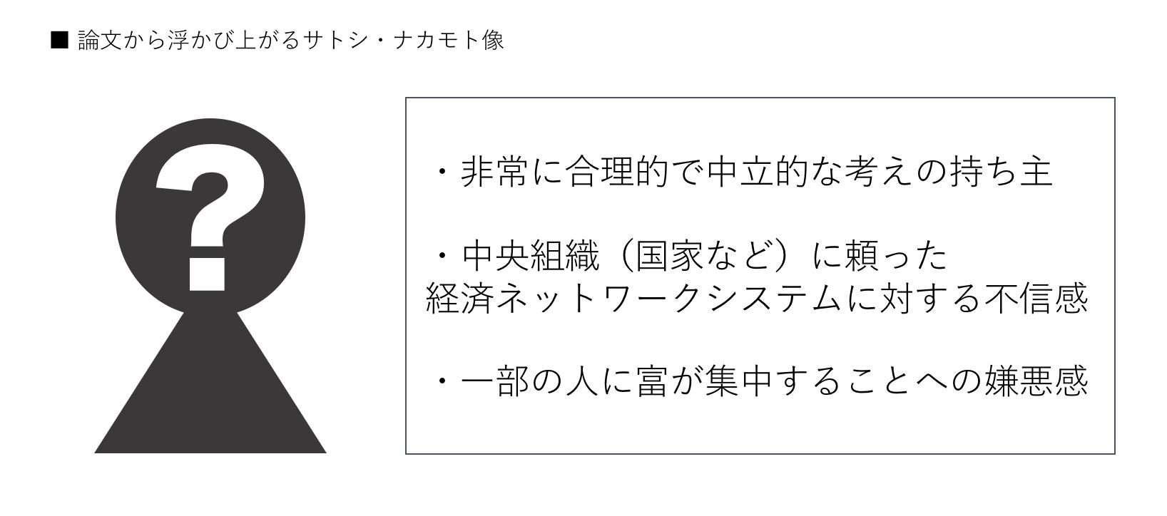 仮想通貨ビットコインの創始者サトシ・ナカモト像