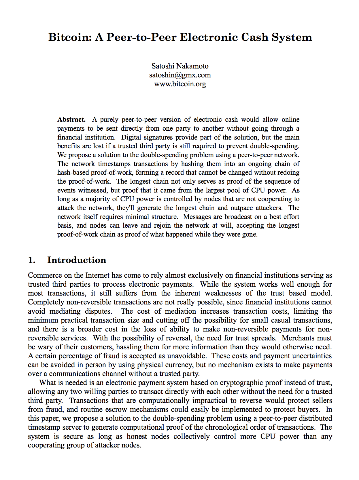 仮想通貨ビットコインの創始者サトシ・ナカモトが書いた論文